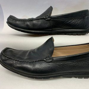 Ecco Mens Black Leather Driving Loafers